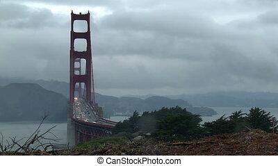 pont, portail, chronocinématographie, large, doré