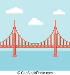 pont, portail, doré