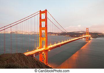 pont, portail, san, doré, francisco
