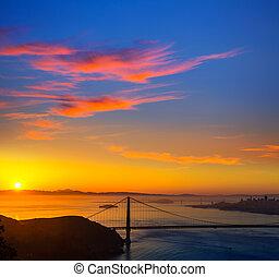 pont porte or, san francisco, levers de soleil, californie