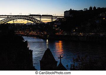 pont, porto, dom, portugal., rivière, nuit, douro, luis, vue