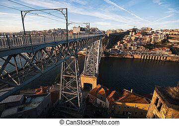 pont, porto, dom, sur, portugal., fer, douro, luis, rivière