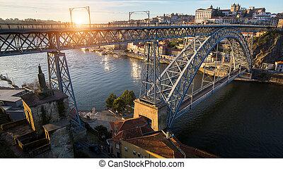pont, porto, dom, sur, portugal., rivière, fer, douro, luis