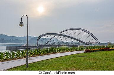pont, poteau lampe