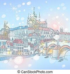 pont, prague, charles, czechia, nuit
