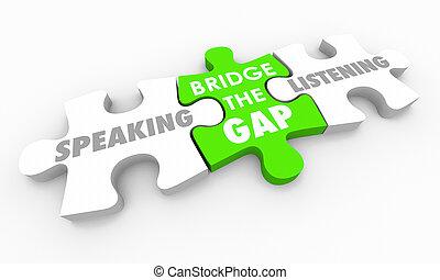 pont, puzzle, illustration, trouée, vs, écoute, morceaux, parler, 3d