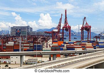 pont, récipient, camion, autoroute, transport