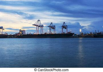 pont, récipient cargaison, fonctionnement, crépuscule, grue, chantier naval, bateau fret, logistic.