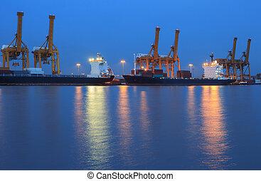 pont, récipient cargaison, fond, fonctionnement, crépuscule, grue, chantier naval, exportation, logistique, importation, fret, rivière, bateau, tout