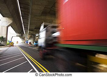 pont, récipient, voiture, en mouvement, sous, autoroute
