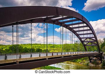 pont, réservoir, sur, baltimor, moulin papier, loch, route, ...
