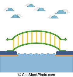 pont, river., sur, coloré