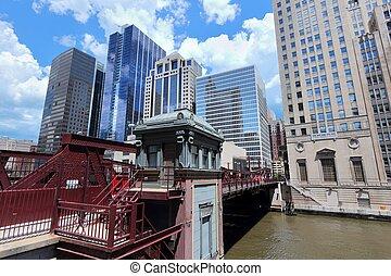 pont, rivière chicago