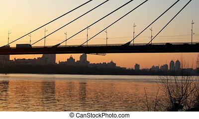 pont, rivière, coucher soleil, vue