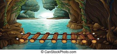 pont, rivière, scène, travers