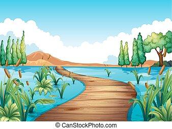 pont, rivière, scène, travers, nature