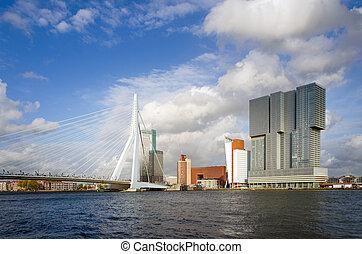pont, rotterdam, gratte-ciel, erasmus
