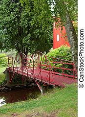 pont, rouges, fer