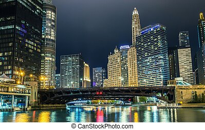 pont, rue état, chicago