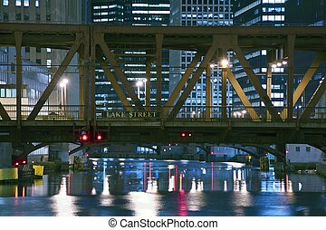 pont, rue, lac, chicago
