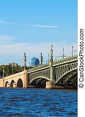 pont, rue., mosquée, petersburg, troitsky