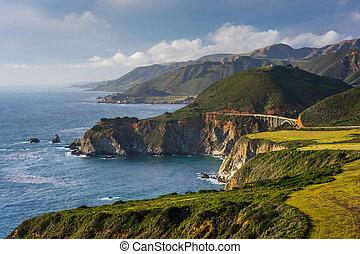pont, ruisseau, montagnes, grand, bixby, côte pacifique, long, vue, california.