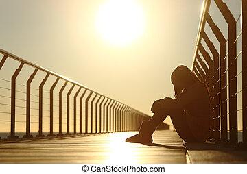 pont, séance, déprimé, triste, coucher soleil, adolescent, girl