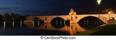 pont, s., benezet, (aka, pont, d\'avignon), famoso, medieval, puente, en, el, pueblo, de, avignon, francia