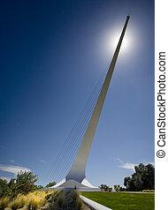 pont, sacramento, sur, redding, cadran solaire, rivière, california.