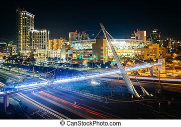 pont, san diego, port, conduire, piéton, vue, nuit, california.