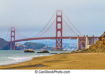 pont, san, plage, boulanger, doré, californie, francisco, portail