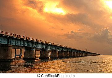 pont, sept, mille, coucher soleil, original
