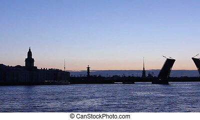pont, silhouette, feuille, panorama