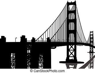 pont, silhouette, portail, doré