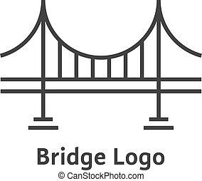 pont, simple, noir, mince, logo, ligne