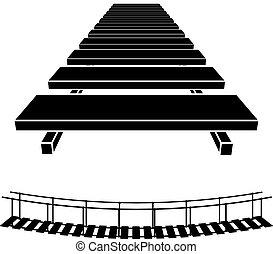 pont, simple, symbole, bois, noir, 3d