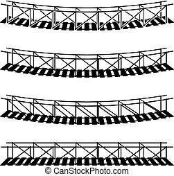 pont, simple, symbole, corde, noir, pendre, suspension