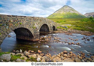 pont, skye, île, sligachan