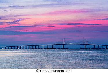 pont, skyway, soleil, aube