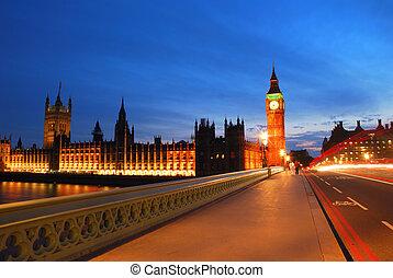 pont, soir, ben, grand, westminster, milieu, tour
