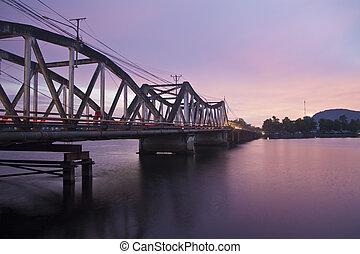 pont, soir, vieux, cambodge, kampot, vue