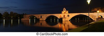 pont, st., benezet, (aka, pont, d\'avignon), famoso, medievale, ponte, in, il, città, di, avignon, francia