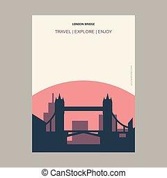 pont, style, royaume-uni, vendange, londres, gabarit, affiche, repère