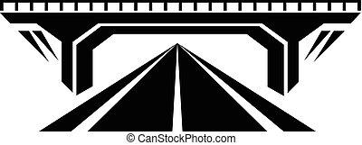 pont, style, simple, béton, noir, icône