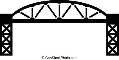 pont, style, simple, métal, noir, icône