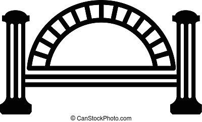 pont, style, simple, métallique, noir, icône