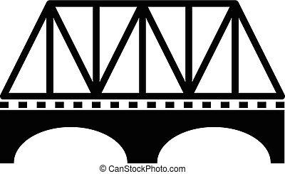 pont, style, simple, noir, icône, ferroviaire, voûte