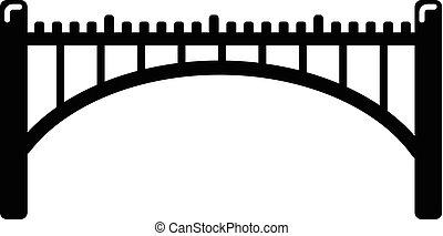 pont, style, simple, noir, icône, voûte, route