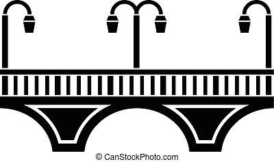 pont, style, simple, noir, retro, icône, voûte