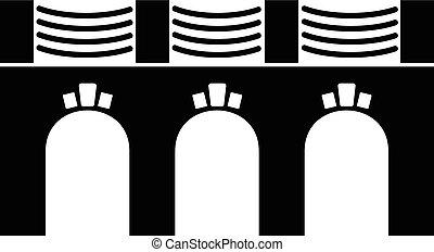 pont, style, vieux, simple, noir, icône, voûte